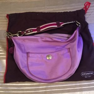 Coach Purple satin hobo purse